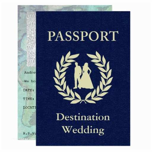"Destination Wedding Invitations Passport Destination Wedding Passport 3 5"" X 5"" Invitation Card"
