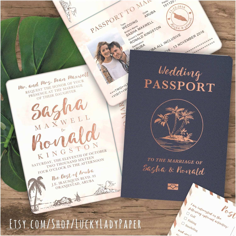 Destination Wedding Invitations Passport Destination Wedding Passport Invitation Set In Rose Gold