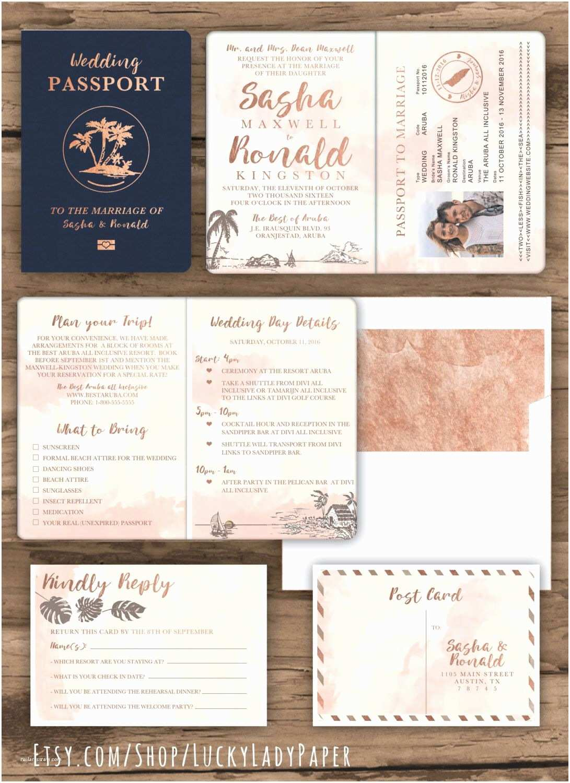 Destination Wedding Invitations Passport Rose Gold Watercolor Destination Wedding Passport