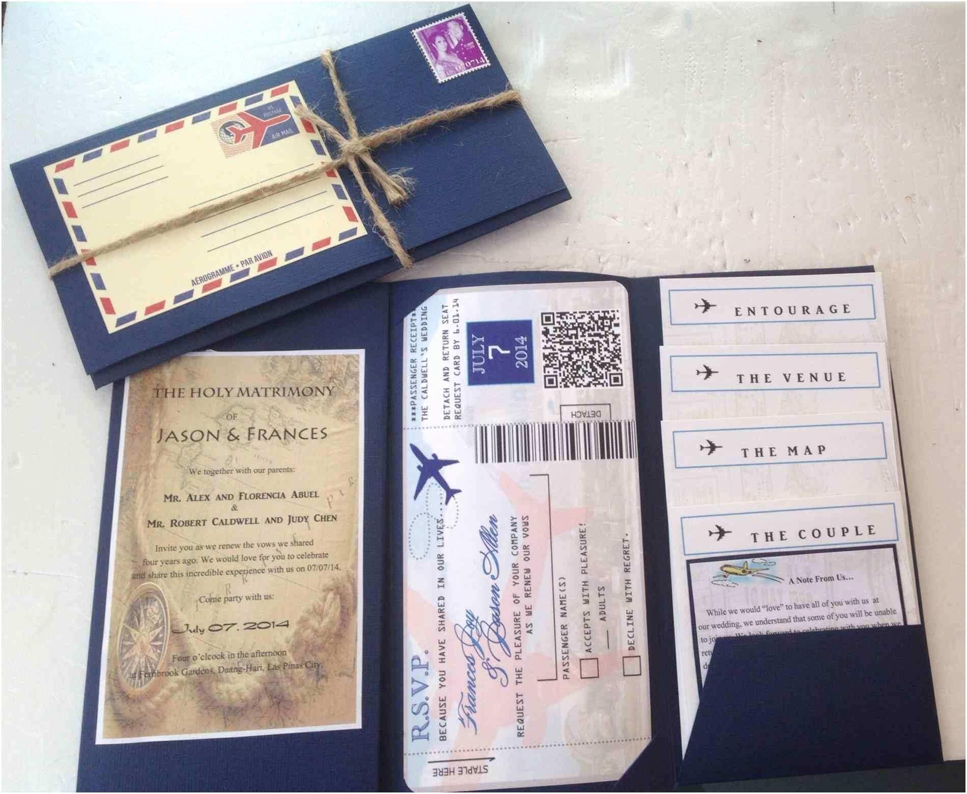 Destination Wedding Invitations Thailand and Boarding Pass Airline Ticket Casadebormela
