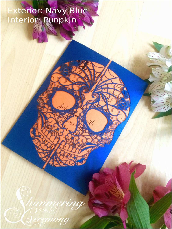 Dia De Los Muertos Wedding Invitations Day Of the Dead Skull Laser Cut Wedding Invitation