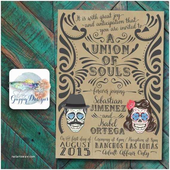 Dia De Los Muertos Wedding Invitations Day Of the Dead themed Wedding Invitation
