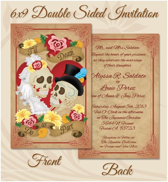dia de los muertos wedding invitation close up