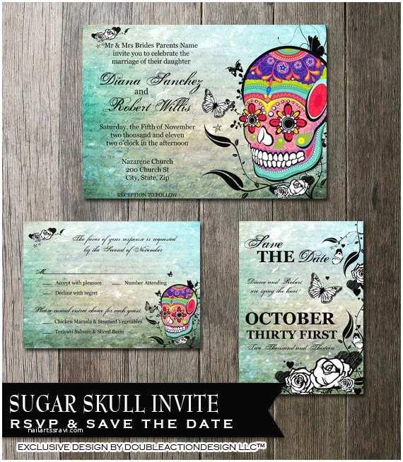 Dia De Los Muertos Wedding Invitations Skull Wedding Invitation Set Sugar Skull Invite Day Of