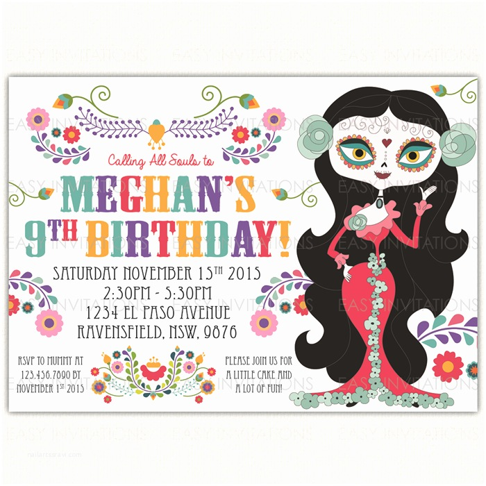 Dia De Los Muertos Wedding Invitations Sugar Skull Birthday Invitation Day the Dead Dia De Los