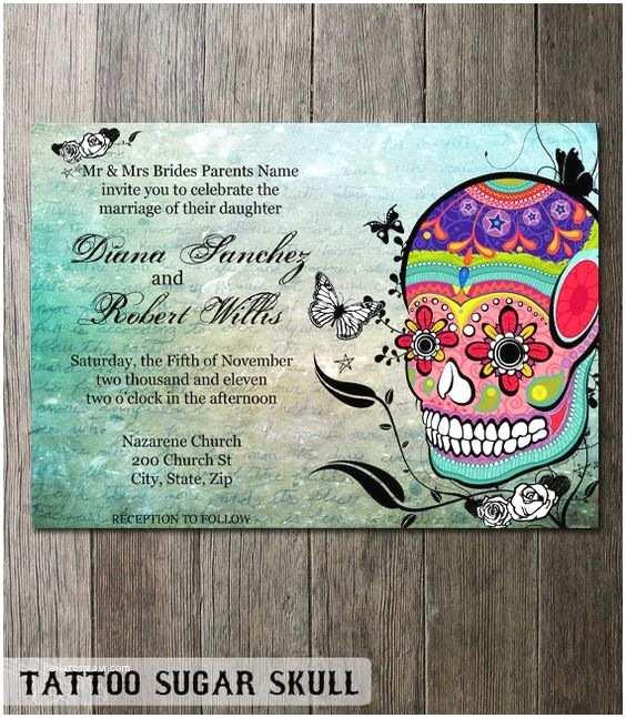 Dia De Los Muertos Wedding Invitations Sugar Skull Wedding Invitation Stationery Dia De Los