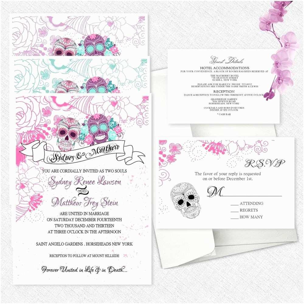 Dia De Los Muertos Wedding Invitations Sugar Skull Wedding Invitations Day the Dead Invitation