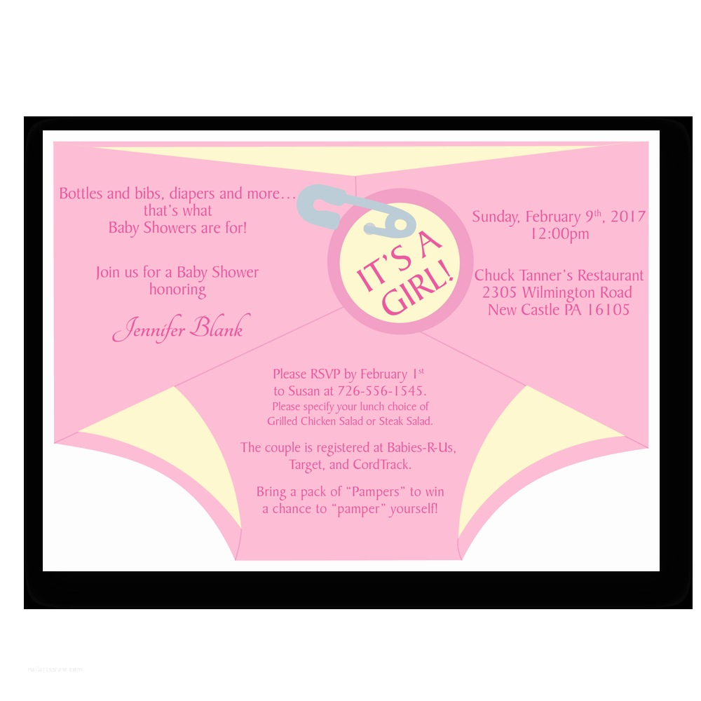 Diaper Baby Shower Invitations Diaper Shower Invitation Pink Dot and Bow