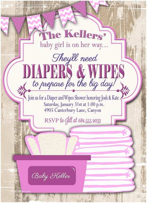 Diaper Party Invitation Wording Baby Shower Invitation Diaper and Wipes Baby Shower
