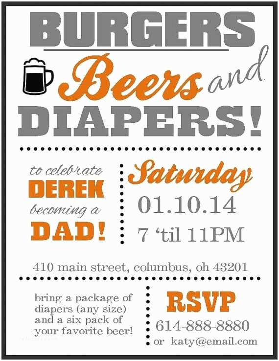 Diaper Party Invitation Wording Diaper Party Invitation Burgers Beers and Diapers by