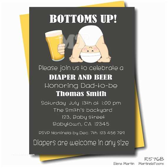 Diaper Party Invitations Beer and Diaper Baby Shower Invitation Chalkboard Dad