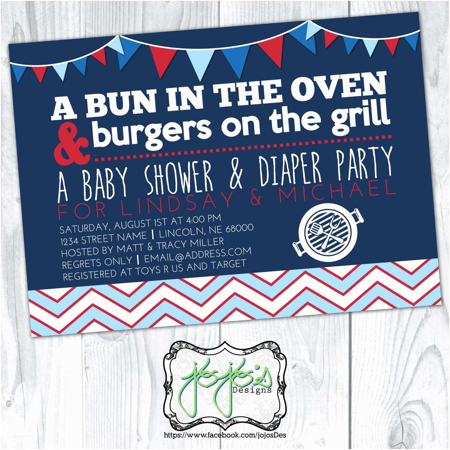 Diaper Party Invitations Bun In the Oven Burgers On the Grill Baby Shower and