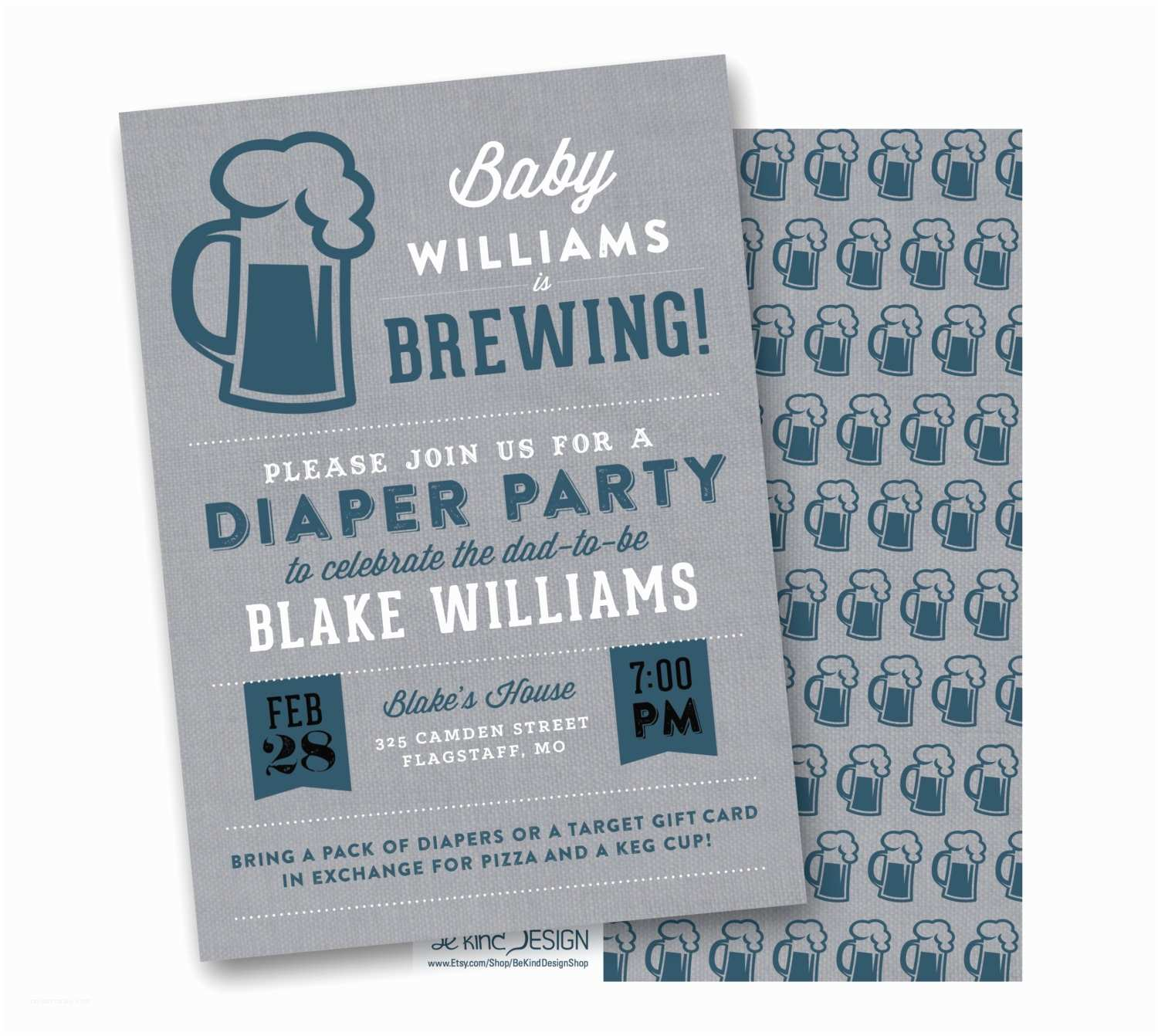 Diaper Party Invitations Diaper Party Invitation Baby is Brewing