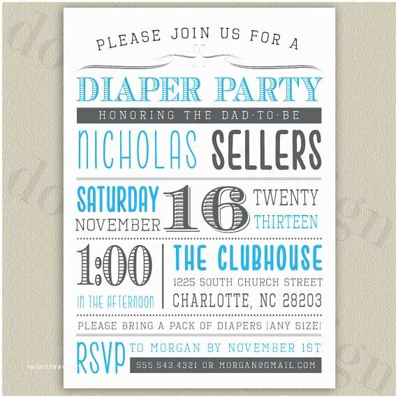 Diaper Party Invitations Diaper Party Printable Invitation with Color by Doubleudesign