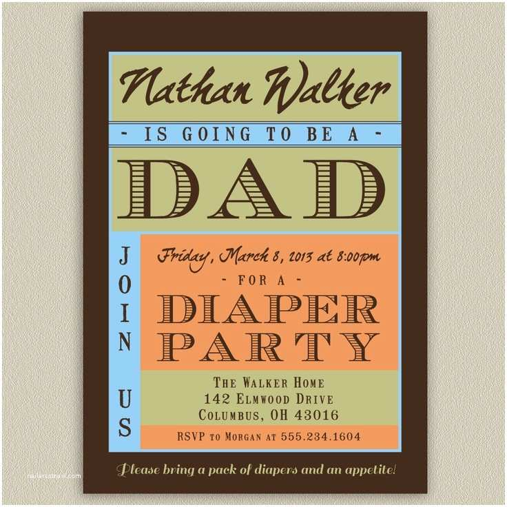 Diaper Party Invitations Diaper Party Shower for Dad Printable Invitation with