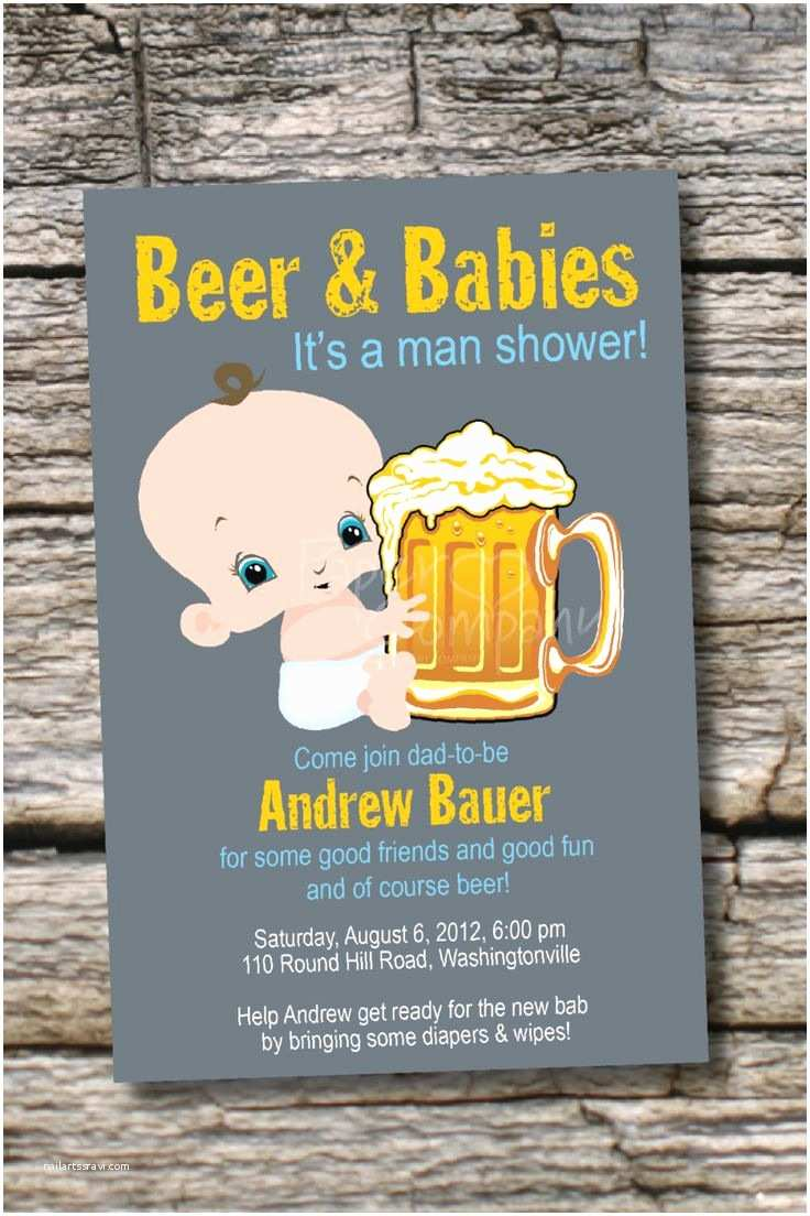 Diaper Party Invitations Man Shower Beer and Babies Diaper Party Invitation
