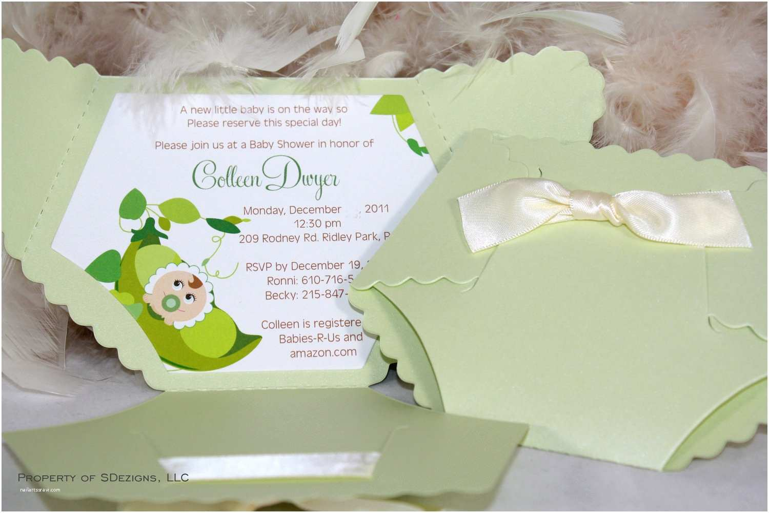 baby shower invitations shaped like diapers