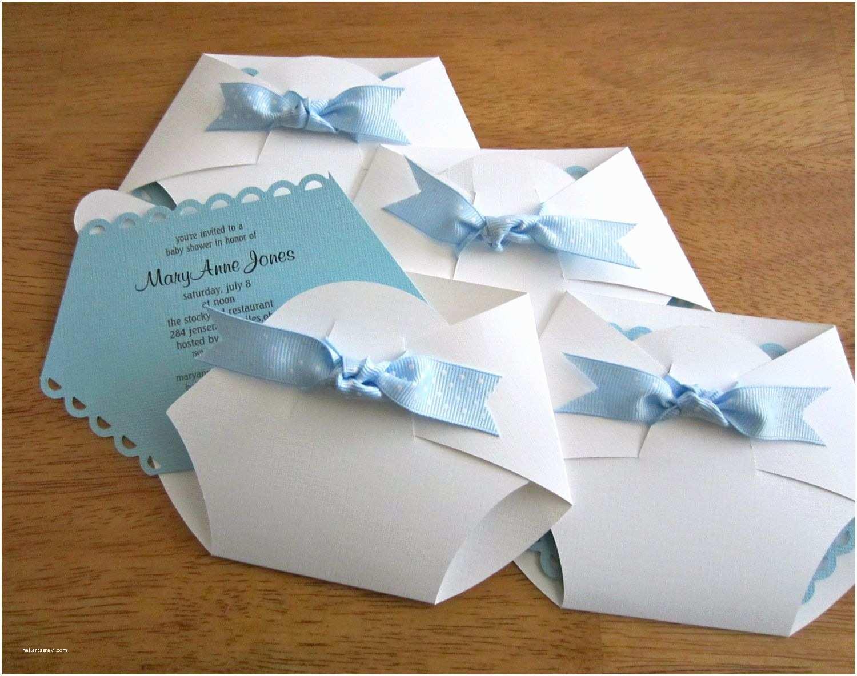Diaper Shaped Baby Shower Invitations Handmade Baby Shower Invitation Diaper Shape