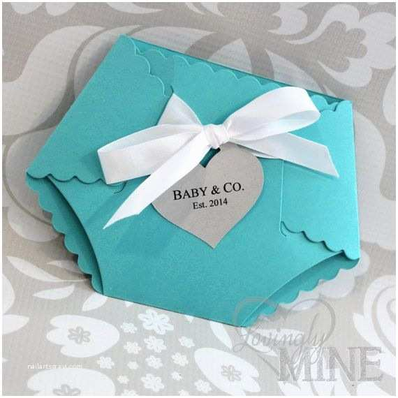 Diaper Shaped Baby Shower Invitations Tiffany & Co Inspired Diaper Shape Baby Shower Invitation