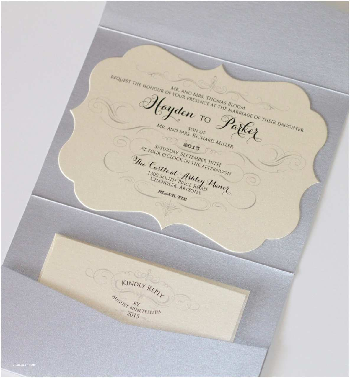 hayden cut frame horizontal pocket fold wedding invitation sample ivory champagne silver glitter