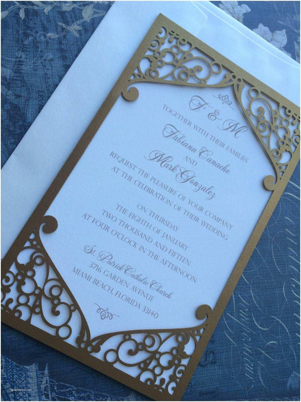 Die Cut Wedding Invitations Laser Cut Wedding Invitation Pocket Elegant Swirl Frame