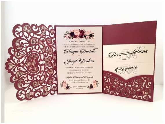 Die Cut Wedding Invitations Laser Cut Wedding Invitations Marsala Burgundy Pocket Wedding