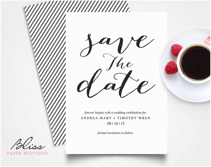 Difference Between Save the Date and Wedding Invitation Black and White Custom Printable Save the Date Save the
