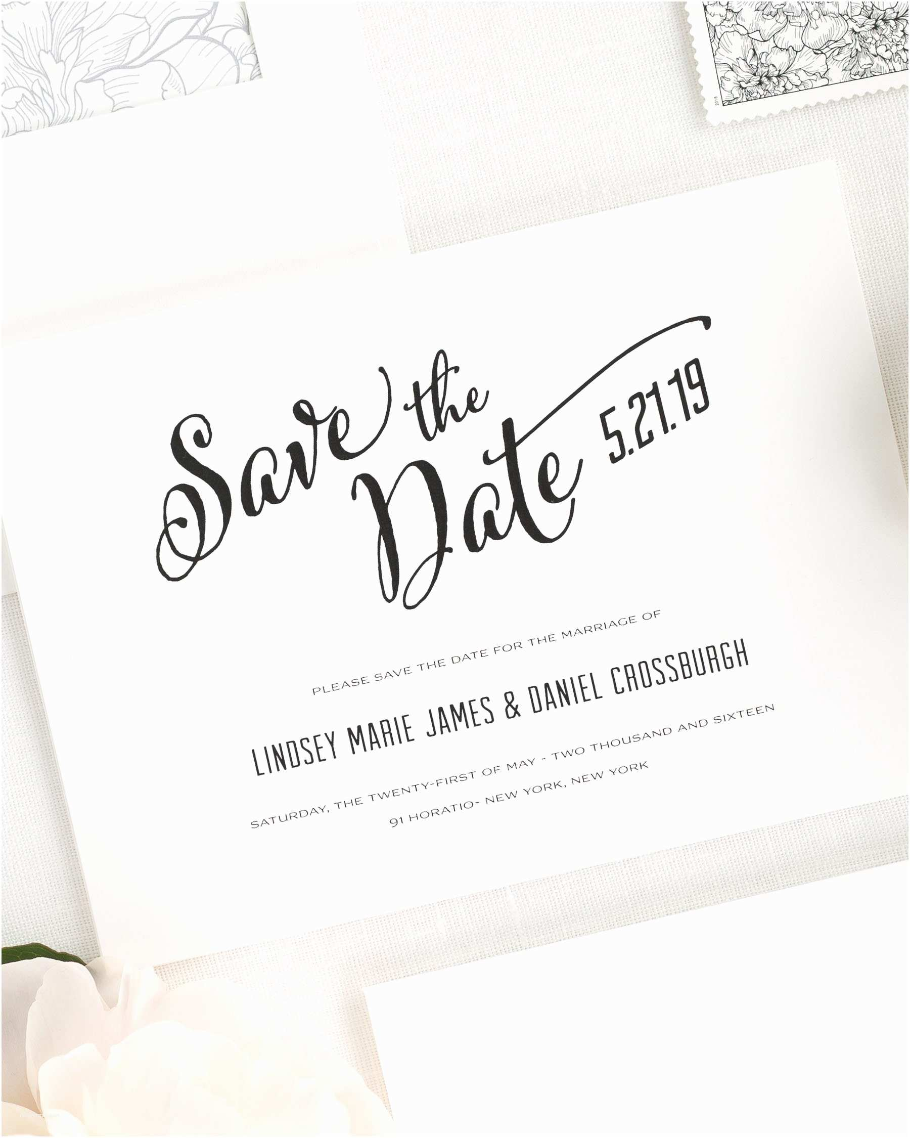 Difference Between Save the Date and Wedding Invitation Modern Script Save the Date Cards Save the Date Cards by