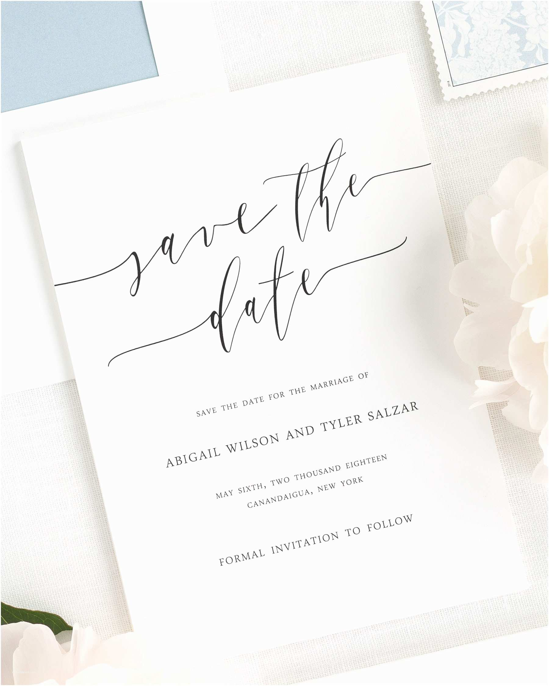 Difference Between Save the Date and Wedding Invitation Romantic Calligraphy Save the Date Cards Save the Date