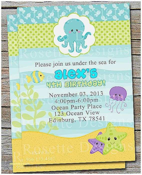 Digital Baby Shower Invitations Baby Shower Invitation Elegant Ocean themed Baby Shower