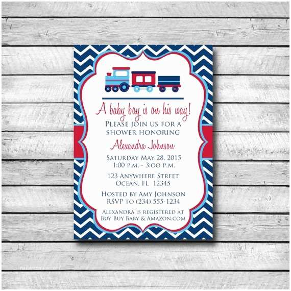 Digital Baby Shower Invitations Digital Baby Shower Invitation Red and Blue Train Baby