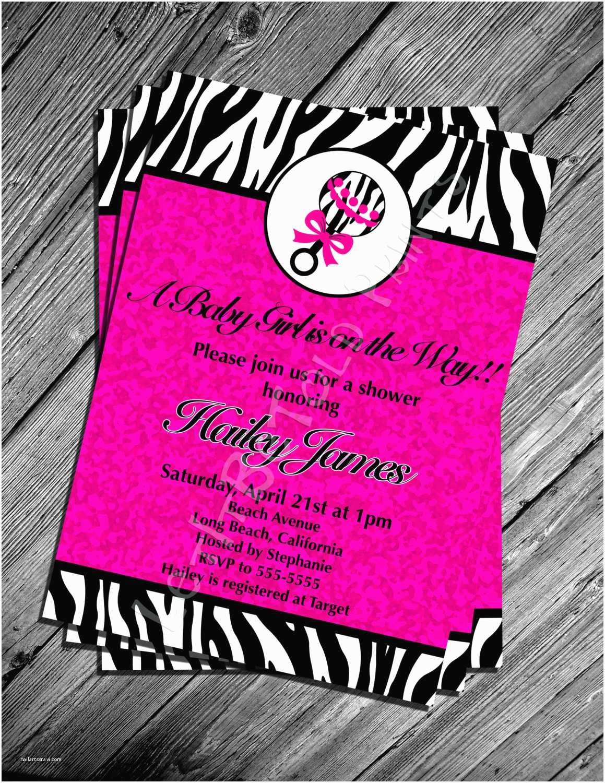 Digital Baby Shower Invitations Digital Pink Zebra Print Baby Shower Invitation Printable