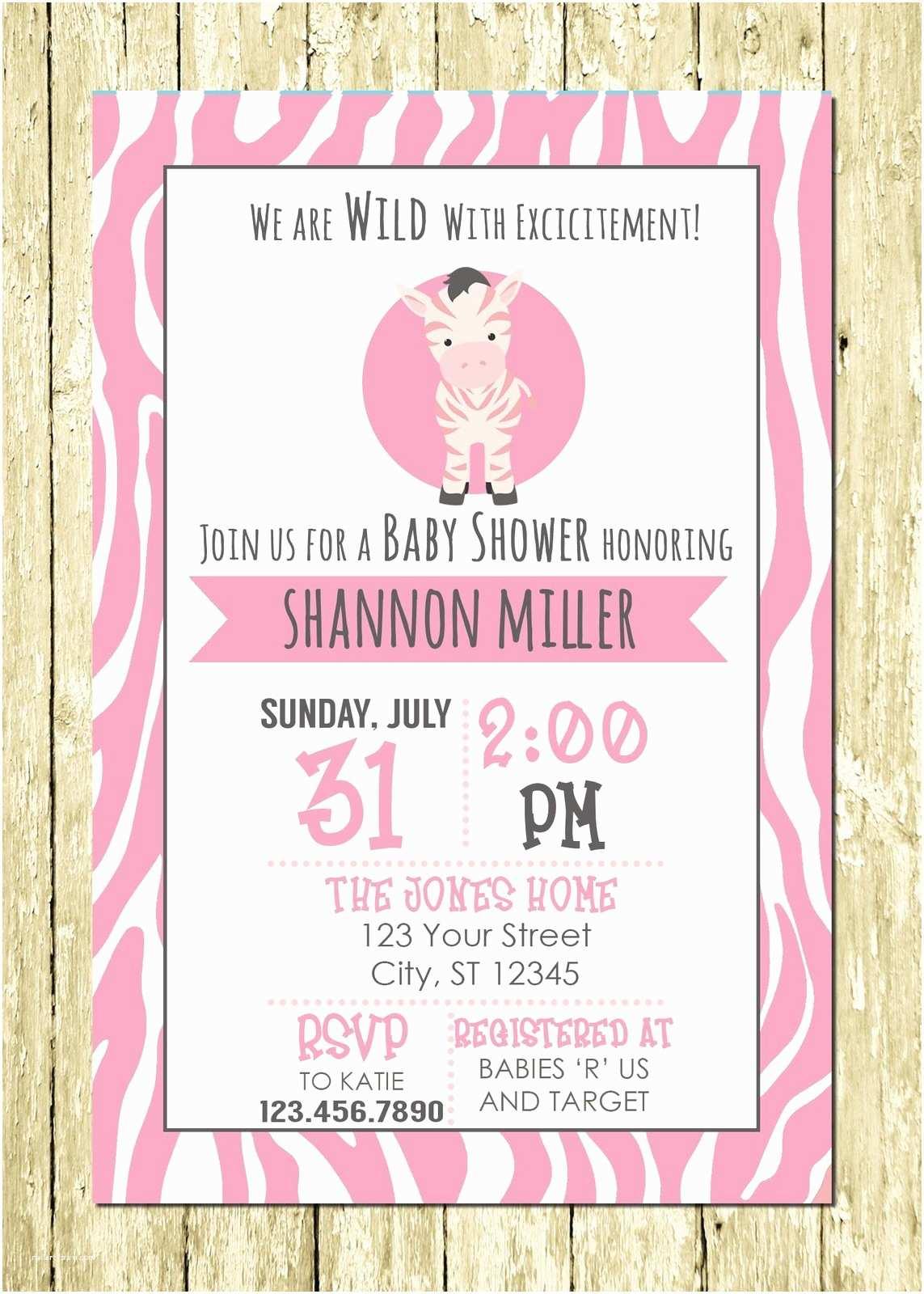 Digital Baby Shower Invitations Pink Zebra Girl Personalized Digital Baby Shower