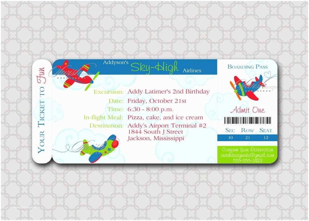 Digital Birthday Invitations Airplane Boarding Pass Digital Birthday By