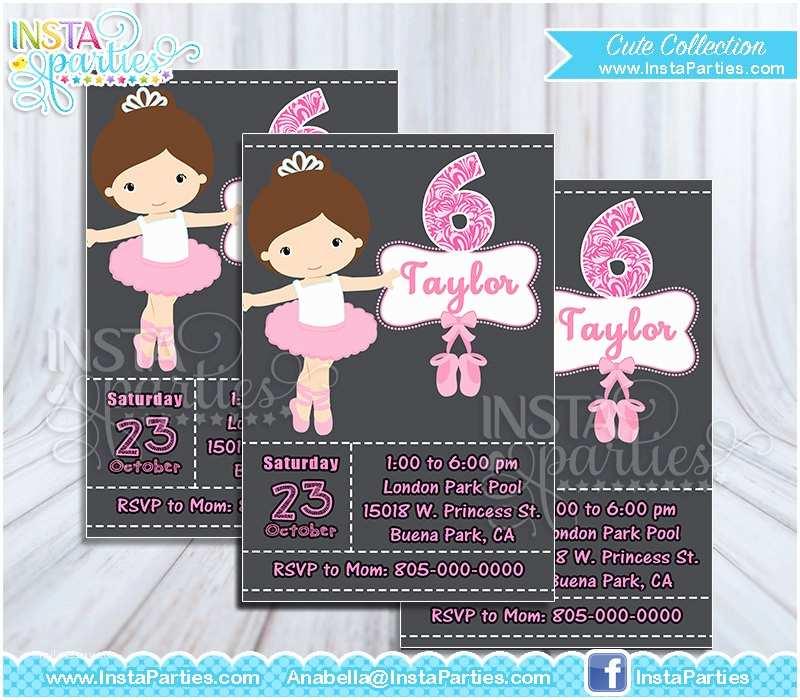 Digital Birthday Invitations Ballet Invitations Ballerina Invitation Dancer