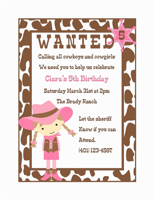 Digital Birthday Invitations Cowgirl Birthday Invitation Digital File