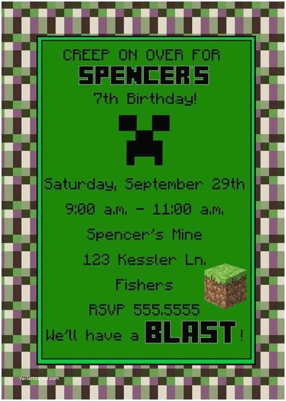 Digital Birthday Invitations Digital Minecraft Inspired Unofficial Birthday