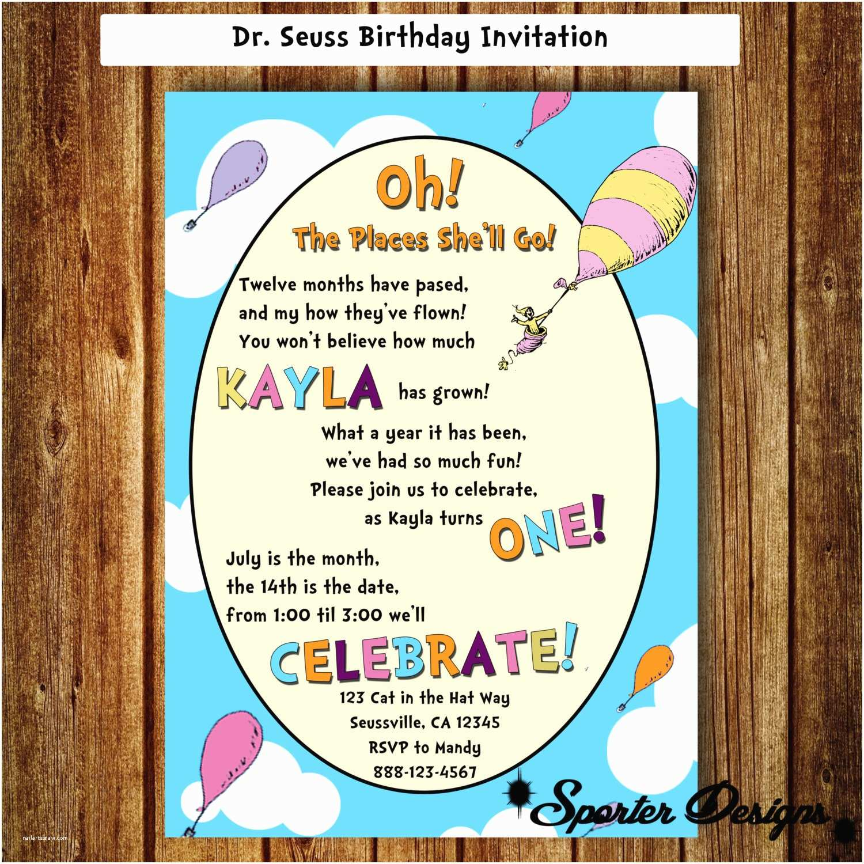 Digital Birthday Invitations Dr Seuss Birthday Invitation Digital