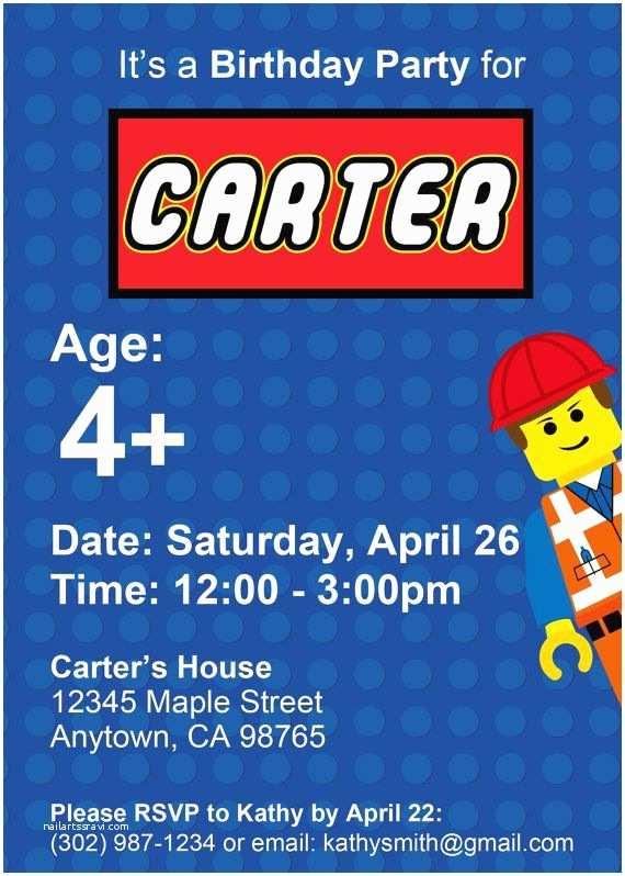 Digital Birthday Invitations Lego Birthday Invitation Custom Printable Digital