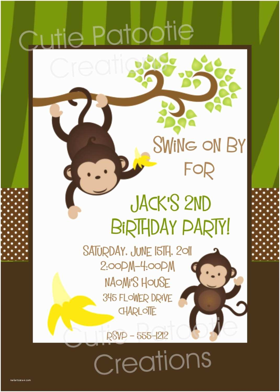 Digital Birthday Invitations Monkey Birthday Invitation Printable Or Printed Monkey