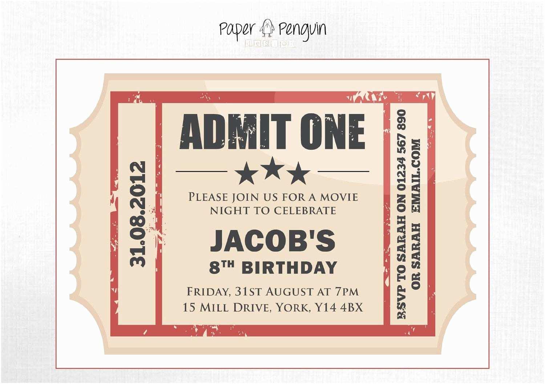 Digital Birthday Invitations Personalized Kids Movie Ticket Party Invitation