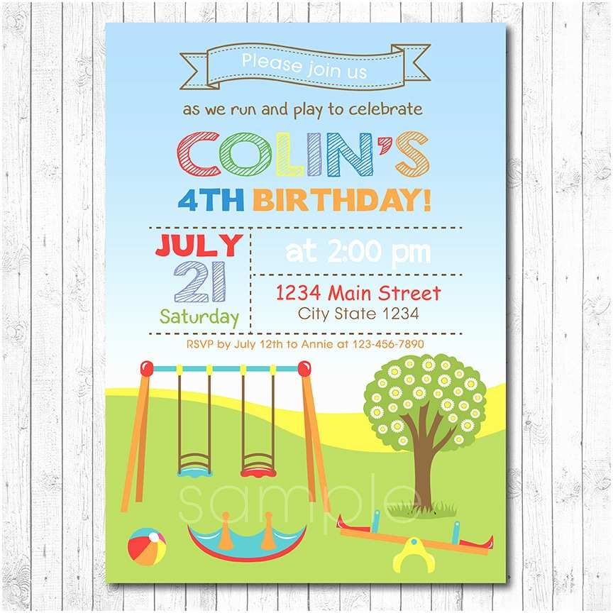 Digital Birthday Invitations Play Park Invitation Boy Printable
