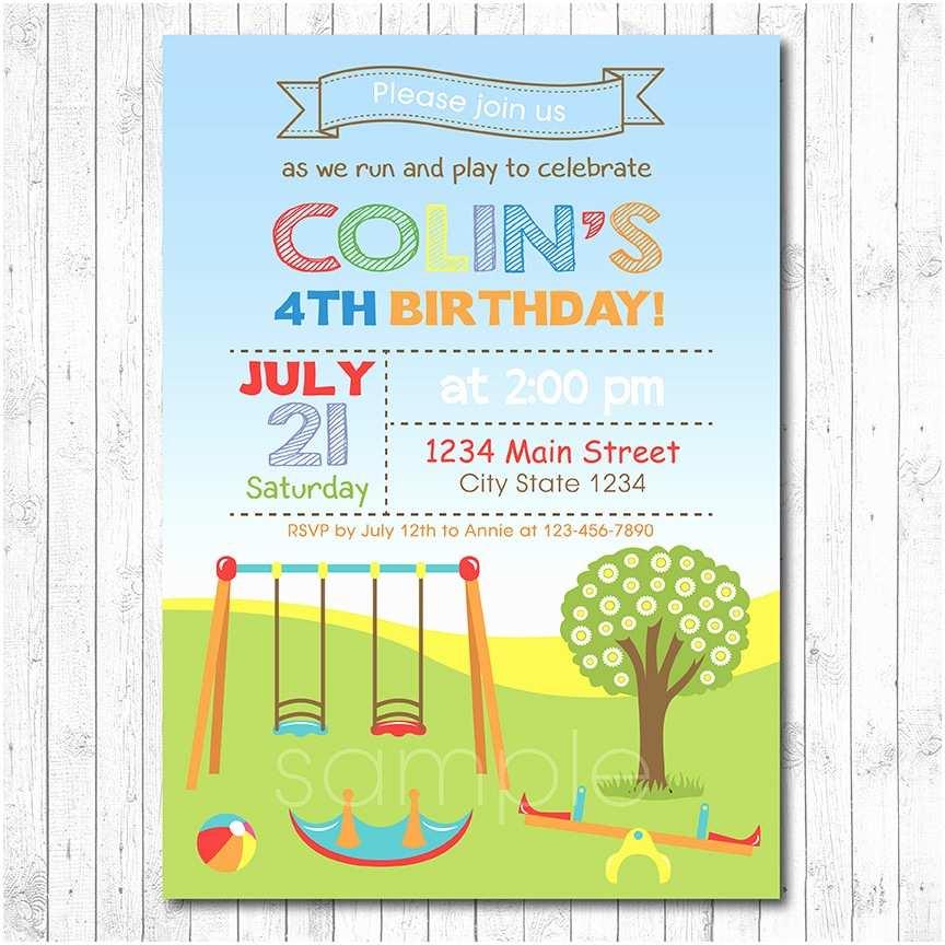 Digital Birthday Invitations Play Park Birthday Invitation Boy Digital