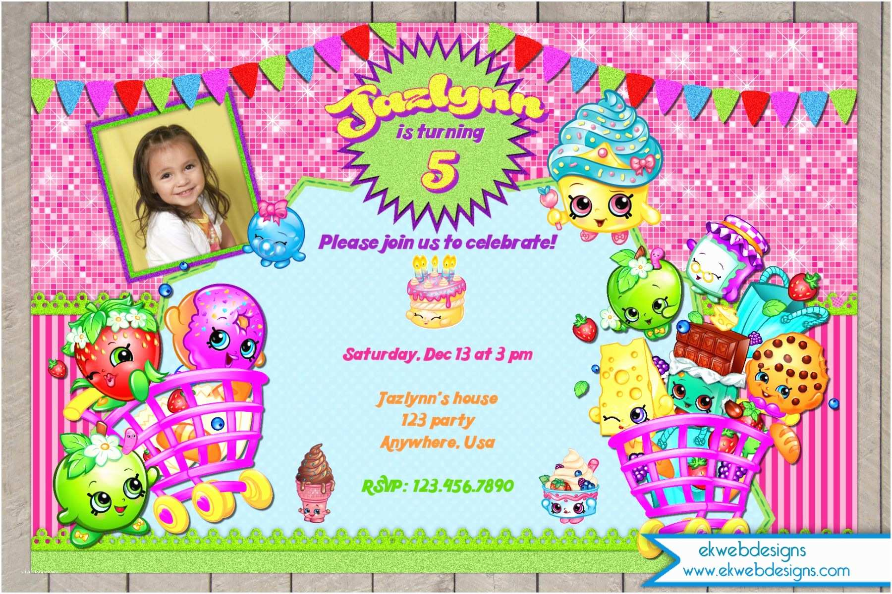Digital Birthday Invitations Shopkins Birthday Invitation Digital