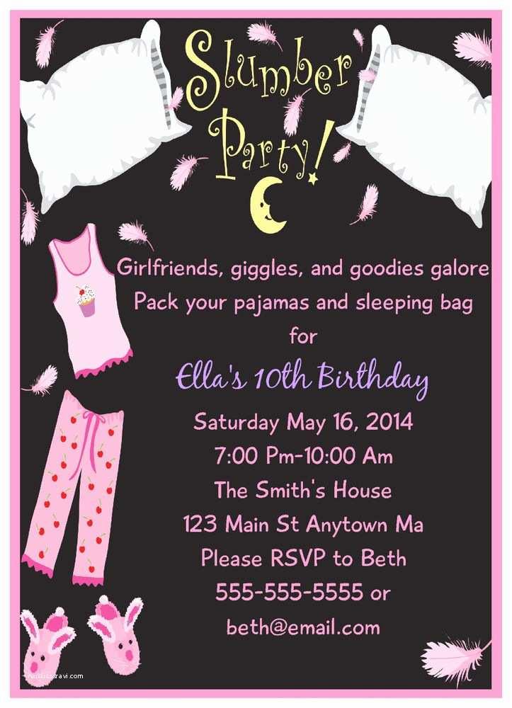 Digital Birthday Invitations Slumber  Sleepover Girls Pjs Digital Birthday