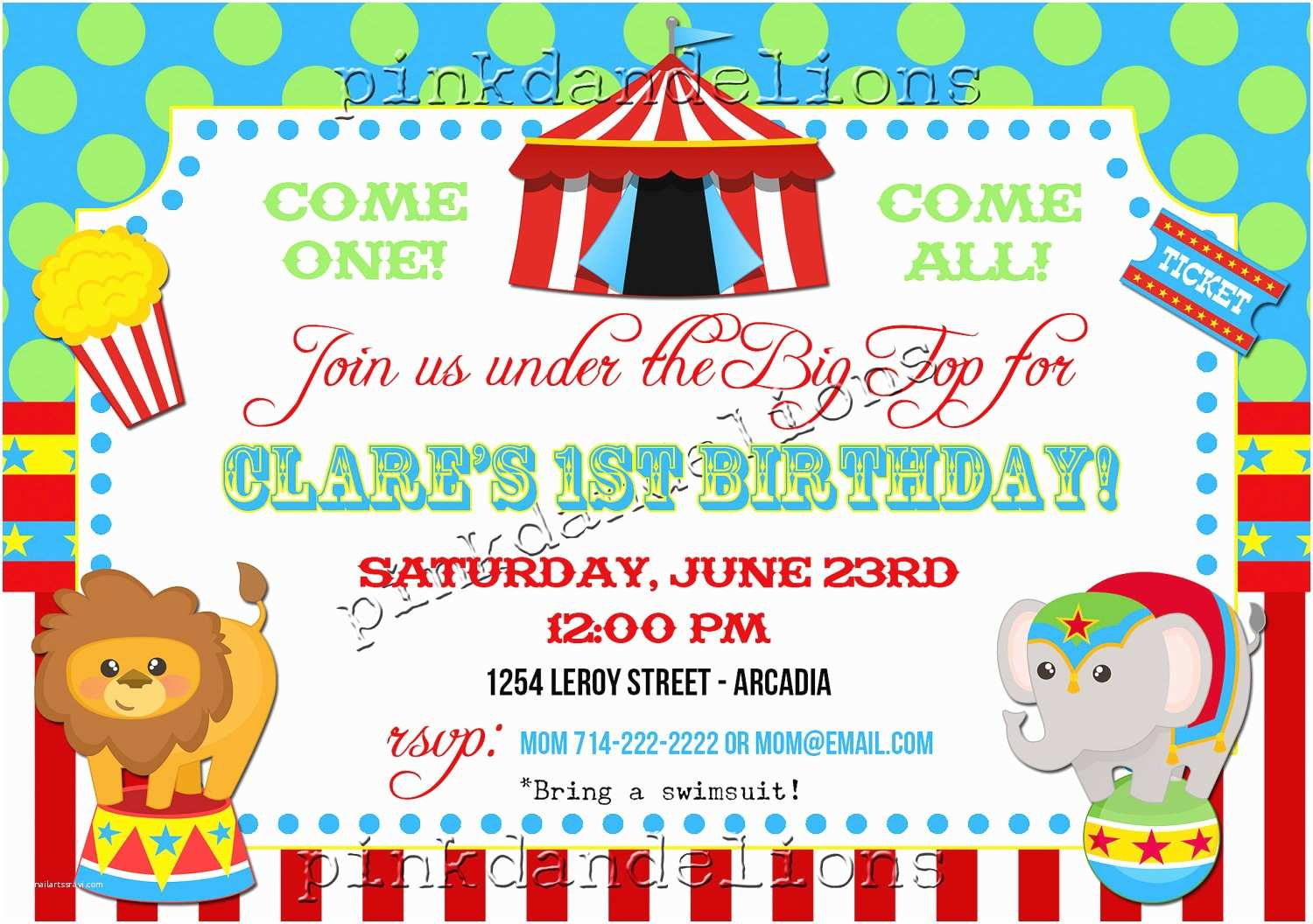 Digital Party Invitations Circus Birthday Party Invitation 5x7 Digital File