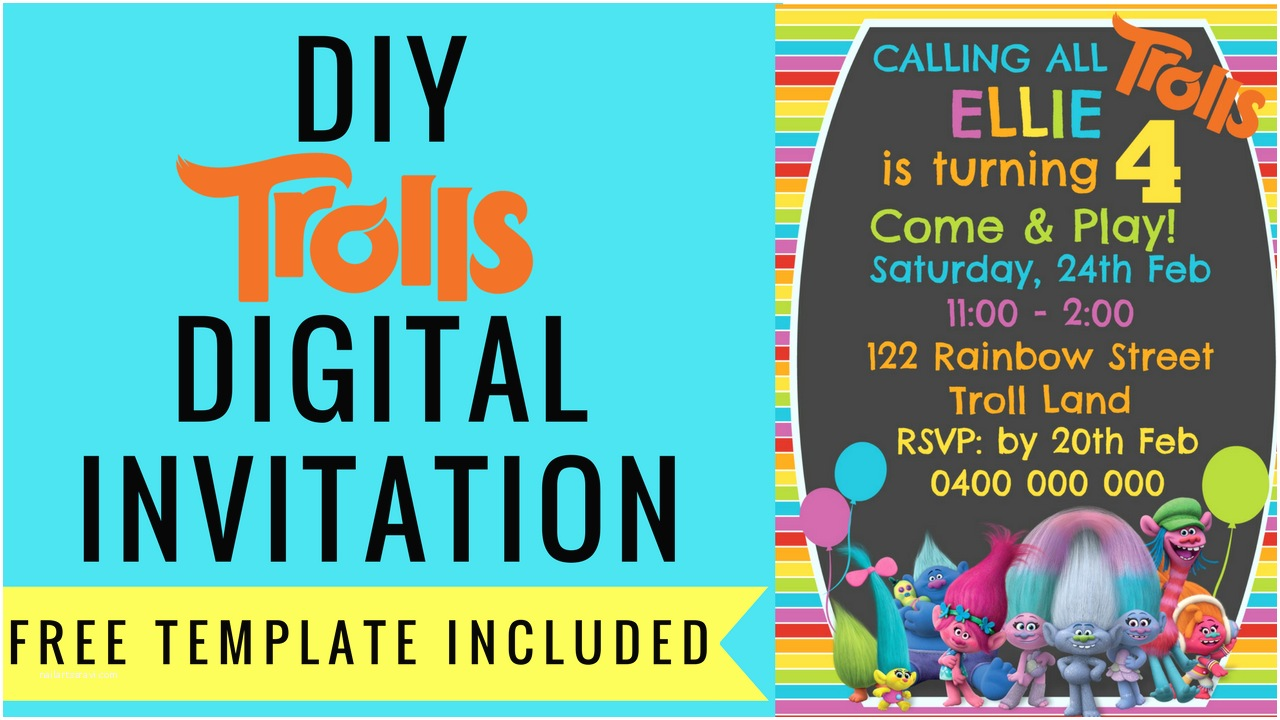 Digital Party Invitations Free Trolls Digital Invitation