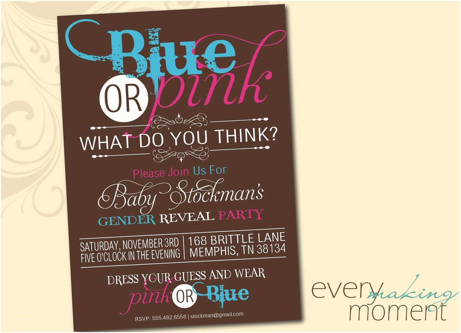 Digital Party Invitations Gender Reveal Party Invitation Digital Custom Printable