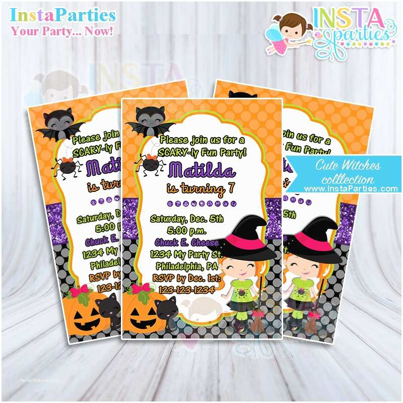 Digital Party Invitations Lil Witch Invitations Witch Birthday Invitation Halloween