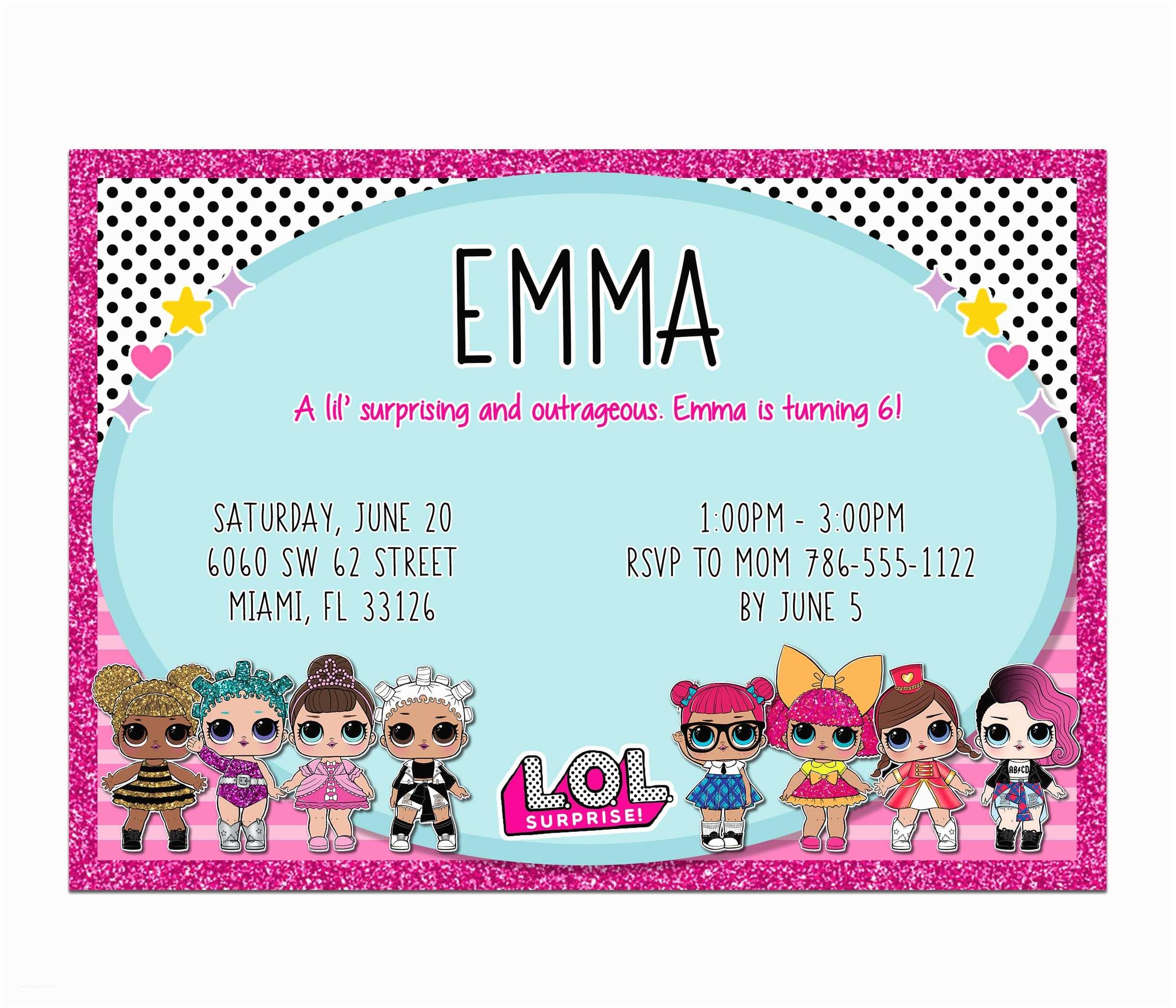 Digital Party Invitations Lol Dolls Birthday Party Digital Invitation